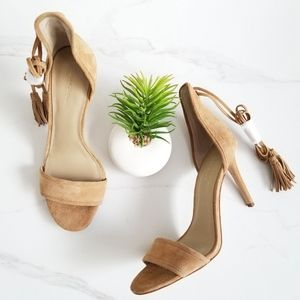 Ann Taylor Tan Suede Heels Esme Tassel Sandal Shoe